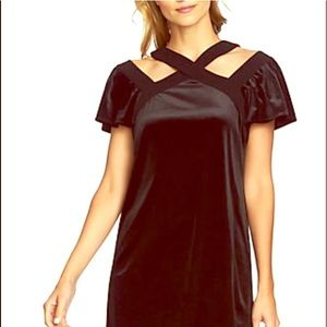 CeCes Gorgeous Rich Black Criss Cross Velvet Dress
